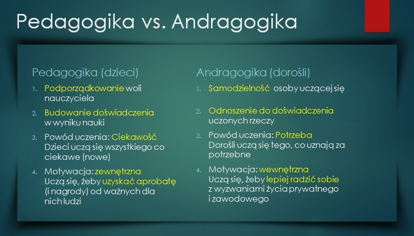 Andragogika i pedagogika - różnice